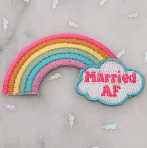 TR00466-MLT-OS Married AF Rainbow Lesbian LGBTQ Patch - Iron On, Iron-On, Patch, Patches, Patches for Jackets, Embroidered, Embroider, Embroidery, Applique, Pride, Bachlerotte, Wedding, Bride, Honeymoon, Bridal, Bridal Shower, Rainbow, Gradient, Love, Pride, Pride Month, LGBTQ, LGBT, LGBT+, Gay, Gay Pride, Lesbian Pride, Bisexual, Pansexual, Love, Love is Love, Colorful, WLW, MLM, Queer, Gay Patch, Lesbian Patch, Bi Patch, Queer Patch,  Wildlfower + Co. DIY