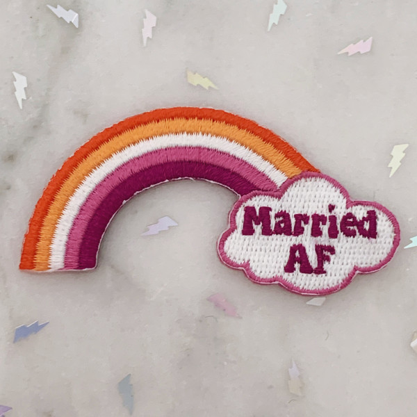 TR00467-MLT-OS Married AF Rainbow Lesbian Flag LGBTQ Patch - Iron On, Iron-On, Patch, Patches, Patches for Jackets, Embroidered, Embroider, Embroidery, Applique, Pride, Bachlerotte, Wedding, Bride, Honeymoon, Bridal, Bridal Shower, Rainbow, Gradient, Love, Pride, Pride Month, LGBTQ, LGBT, LGBT+, Gay, Gay Pride, Lesbian Pride, Love, Love is Love, Colorful, WLW, Sapphic, Sappho, Butch, Femme, Futch, NB Lesbian, Nonbinary Lesbian, Lesbian Pride, Queer Wildlfower + Co.
