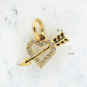 JW00174 Pave Heart Arrow Charm Pendant - Gold - Wildflower.Co - Main