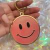 AC00215-PNK-OS - Pink Glitter Keychain, Key Chain, Key Ring, Hard Enamel, Keyring, Bag Charm, Enamel Keychain, Hard Enamel Keychain, Gift, Cute Gift, Girly, Smiley Face Enamel Keychain, Smile, Emoji, Smiley Face, Smiley Emoji, Emote, Glitter