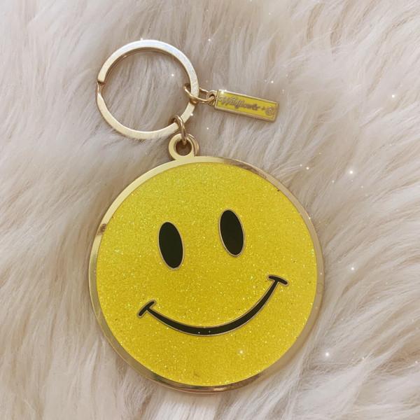 AC00215-YEL-OS - Yellow Glitter Key Chain, Key Ring, Hard Enamel, Keyring, Bag Charm, Enamel Keychain, Hard Enamel Keychain, Gift, Cute Gift, Girly, Smiley Face Enamel Keychain, Smile, Emoji, Smiley Face, Smiley Emoji, Emote, Glitter