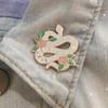 AC00172-GLT-OS White Glitter Serpent Enamel Pin, snake, snake enamel pin, snake pin, moon pin, moon phases, cosmic snake pin, lapel pin, enamel pin, hard enamel pin, serpent pin