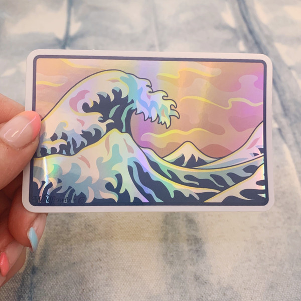 PC00113-MLT-OS - Great Wave Sticker, Holographic Sticker, Stickers for Laptops, Water Bottle Stickers, Stickers for Water Bottles, Laptop Stickers, Summer, Tropical, Sunshine, Aesthetic, Summer Aesthetic, Waves, Ocean, Peace, Pink, Pastel