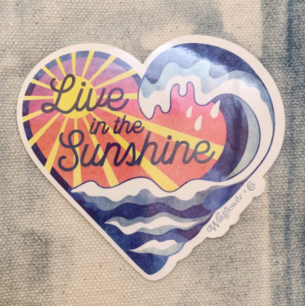 PC00114-MLT-OS - Live in the Sunshine Sticker, Holographic Sticker, Stickers for Laptops, Water Bottle Stickers, Stickers for Water Bottles, Laptop Stickers, Summer, Waves, Ocean, Neon, Bright, Aesthetic