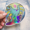 PC00117-MLT-OS - Surfing Dinosaur,Stickers, Stickers for Laptops, Water Bottle Stickers, Stickers for Water Bottles, Laptop Stickers, Neon, Summer, Tropical, Sunshine, Aesthetic, Summer Aesthetic, Waves, Surf, Surfing, Surfer
