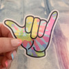 PC00119-MLT-OS - Hang Loose Hand Sticker, Holographic Sticker, Stickers, Stickers for Laptops, Water Bottle Stickers, Stickers for Water Bottles, Laptop Stickers, Neon, Tie Dye, Retro, Peace, Love, Surfs Up