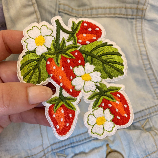 TR00484-RED-OS - Strawberry Plant Patch - Left Side only  - Patches, Patch, Iron On, Iron On Patches, Patches for Jackets, Embroidered Patches, Embroidery, Embroidered, Strawberry, Strawberries