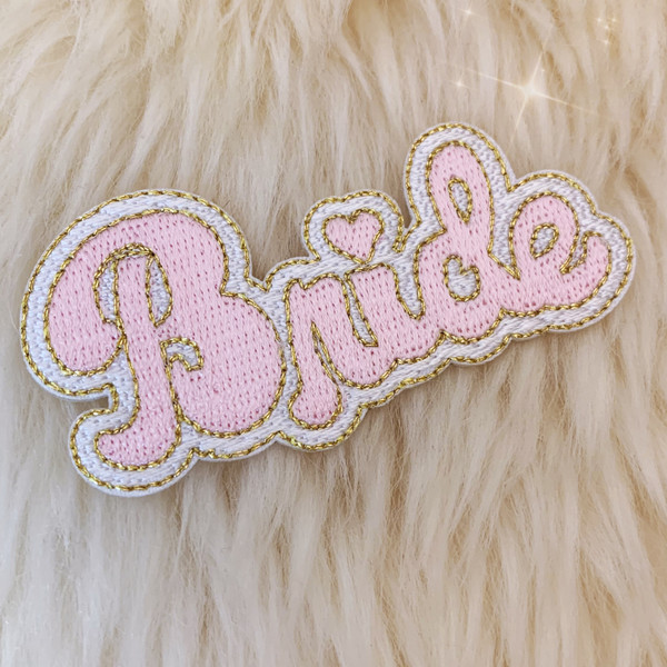 TR00473-PNK-OS - Bride Patch, Small - Pink - Patches, Patch, Iron On, Iron On Patches, Patches for Jackets, Embroidered Patches, Embroidery, Embroidered, Bride, Bride Patch, Pink Patch, Bachelorette, Wedding, Honeymoon, Wedding, Bridal Party, Bridal, Wife