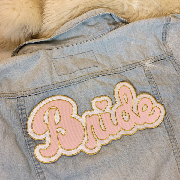 TR00474-PNK-OS - Bride XL Back Patch, Pink  - Patches, Patch, Iron On, Iron On Patches, Patches for Jackets, Embroidered Patches, Embroidery, Embroidered, Bride, Bride Patch, Pink Patch
