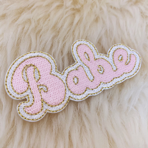 TR00475-PNK-OS - Babe Patch - Patches, Patch, Iron On, Iron On Patches, Patches for Jackets, Embroidered Patches, Embroidery, Embroidered, Babe, Babe Patch, Girly Patch, Girly, Feminine, Pink Patch, Sassy, Sassy Patch