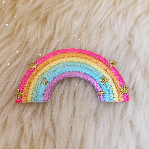 TR00468-MLT-OS - Rainbow Patch, Small - Patches, Patch, Iron On, Iron On Patches, Patches for Jackets, Embroidered Patches, Embroidery, Embroidered, Cute Patch, Adorable Patch, Rainbow, Rainbow Patch, Colorful, Pride, Pride Patch, Sparkles, LGBT