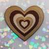AC00239-ALL-OS - Y2K Aesthetic Heart Patches - Embroidered Iron On Patch for Jackets + - Wildflower + Co. DIY - BROWN