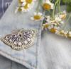 JW00612-GLD-OS-R - Night Butterfly Enamel Pin - Lunar Moth - Luna - Moon Phases, Stars, Night Sky - Midnight Blue & Gold Hard Enamel Pin - Wildflower + Co.