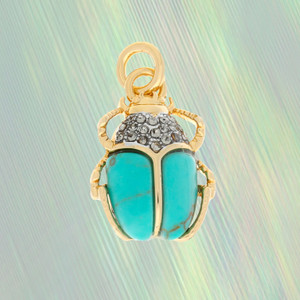 Scarab Charm, Turquoise & Gold