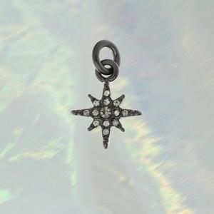 JW00099 Pave North Star Charm Pendant - Hematite Black Diamond - Wildflower.Co - Main