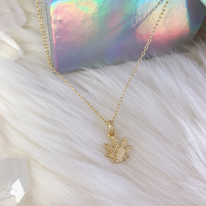 Dainty Gold Weed Necklace
