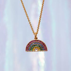 Bright Rainbow Pave Necklace