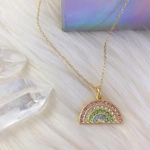 Pastel Rainbow Pave Necklace