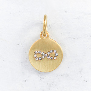 JW00155 Infinity Charm Pendant - Brushed Gold Pave - 1Main