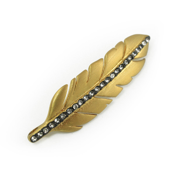 JW00046 Pave Feather Bracelet Connector Brushed Gold - Jewelry Making - Wildflower + Co.