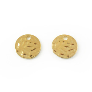 Gold Hammered Disc Charms - Jewelry Making - Wildflower + Co.