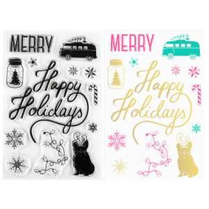 Happy Holidays Christmas Clear Stamps - Stamping & Papercraft Supplies - Wildflower + Co.
