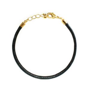 Leather Bracelet Black  Gold - Wildflower + Co.