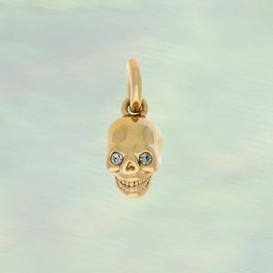 JW00178PGdOS - Small Dainty Skull Charm Pendant - Gold - Wildflower.co - Main