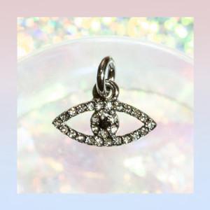 JW00182HMTOS Dainty Evil Eye Charm Pendant - Black Diamond - Hematite - Wildflower + Co