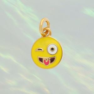 JW00189-AGLDOS - Emoji Charm - Crazy Face, Gold - Charm, Charms, Pendant, Pendants, DIY, Jewelry Making, Jewelry Supplies, Jewelry Making Supplies, Necklace Charm, Bracelet Charm, Charm for Necklace, Charm for Bracelet, Gold Charm, Gold, Enamel, Crystal, Pave, Emoji, Emoji Charm, Crazy Face, Crazy Face Emoji, Tongue, Wink, Winking, Yellow - BC Crop