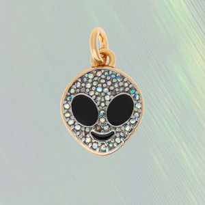 JW00190GLDOS -  Alien Charm - Iridescent Pave Crystals & Gold - Cute - Wildflower + Co. Custom Charm Jewelry Personalized Gifts