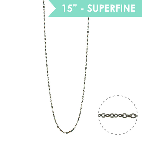 "Superfine 15"" Chain Necklace, Hematite - Wildflower + Co."
