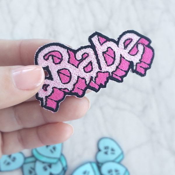 Babe Drippy Letters Pink Patch - Iron On Patches Applique Wildflower Co