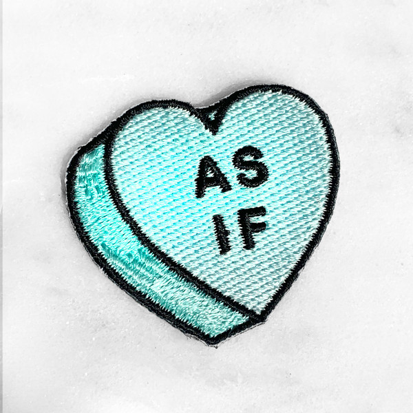 As If Conversational Heart Candy Patch Patches Iron On Applique - Aqua - Mint - Feminist (4) Wildflower Co -