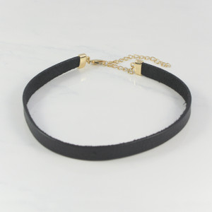 Leather Choker Necklace, Black