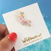 Pink Unicorn Charm Pendant - Gold & Pink Enamel - Packaged - Wildflower Co (2)