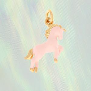 Pink Unicorn Charm, Gold