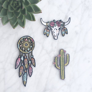 Southwest - Festival Iron On Patch Set - Dreamcatcher - Cactus - Longhorn - Wildflowrer Co - Main