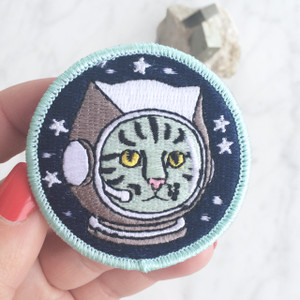Space Cat Iron On Patch - Embroidered - Alien - Astronaut - Outer Space - Wildflower Co. - Main