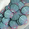 Shell - Seashell - Iron On Patch - Patches - Embroidered Applique - Pastel - Aqua - Metallic Gold - Wildflower + Co. - Multiples