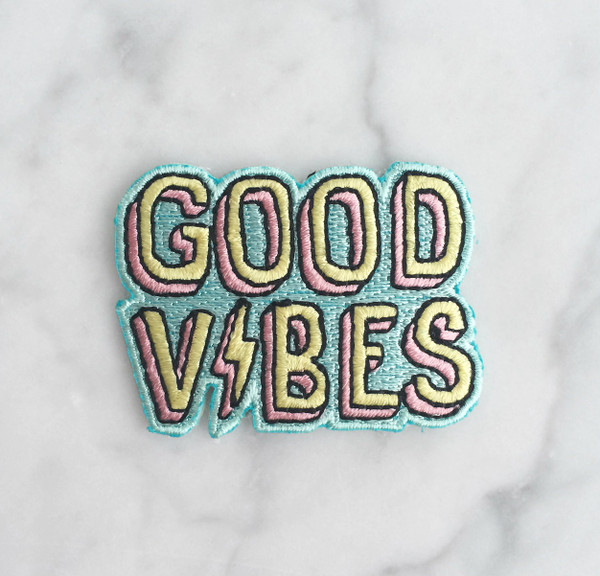 Good Vibes - Iron On Patch - Patches - Embroidered Applique - Pastel Aqua Pink Yellow Lightning - Wildflower + Co. - Multiples2