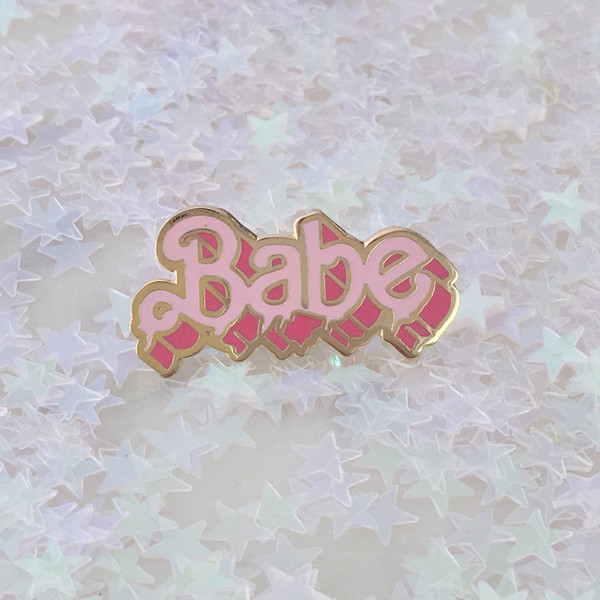Babe Flair Pin - Enamel - Tiny - Pink - Drippy Letters - Slime - Wildflower + Co. - Solo - Marble