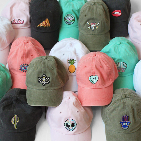 9e90516c9bc2c Whimsical Embroidered Baseball Hats - Patches - Wildflower Co - Black  Pastel Pink Coral Mermaid Aqua