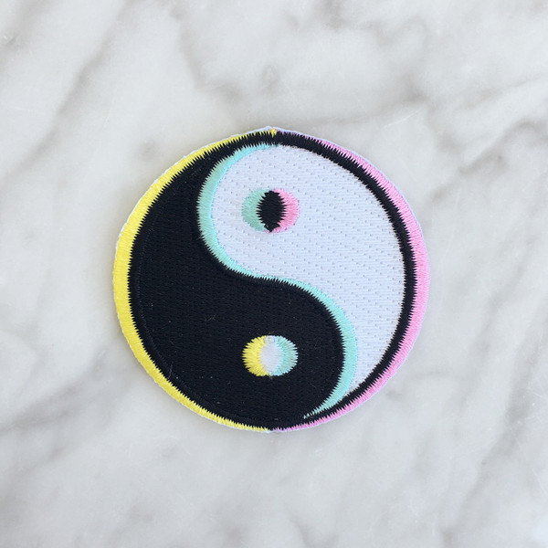 Yin Yang Iron On Patch - Embroidered Patches - 3D - Trippy - 90s - 90's - Wildflower Co.