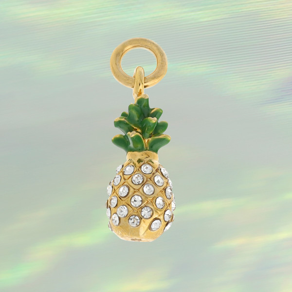 JW00270GLDOS - Pineapple Charm -Crystals & Gold - Cute - Tropical Summer Beach Vacation - Wildflower +Co. Custom Charm Jewelry Personalized Gifts