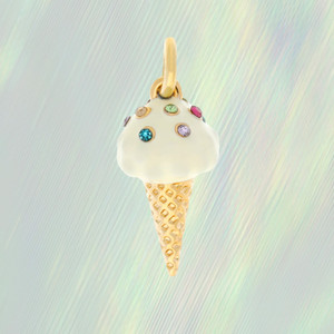 Ice Cream Cone Charm, Gold