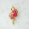 Flamingo Charm Pendant - Pink Enamel Gold - Wildflower Co.