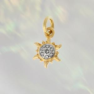 JW00271GLDOS - Sun Charm - Crystals & Gold - Cute Tiny Dainty - Wildflower +Co. Custom Charm Jewelry Personalized Gifts