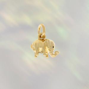 JW00265GLDOS - Dainty Elephant Charm Pendant - Gold - Mini - Tiny - Wildflower Co.