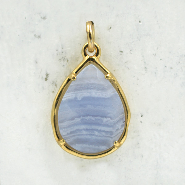 Blue Lace Agate Teardrop Briolette Pendant Charm - Gold - Faceted - Semiprecious Semi Precious Wildflower Co